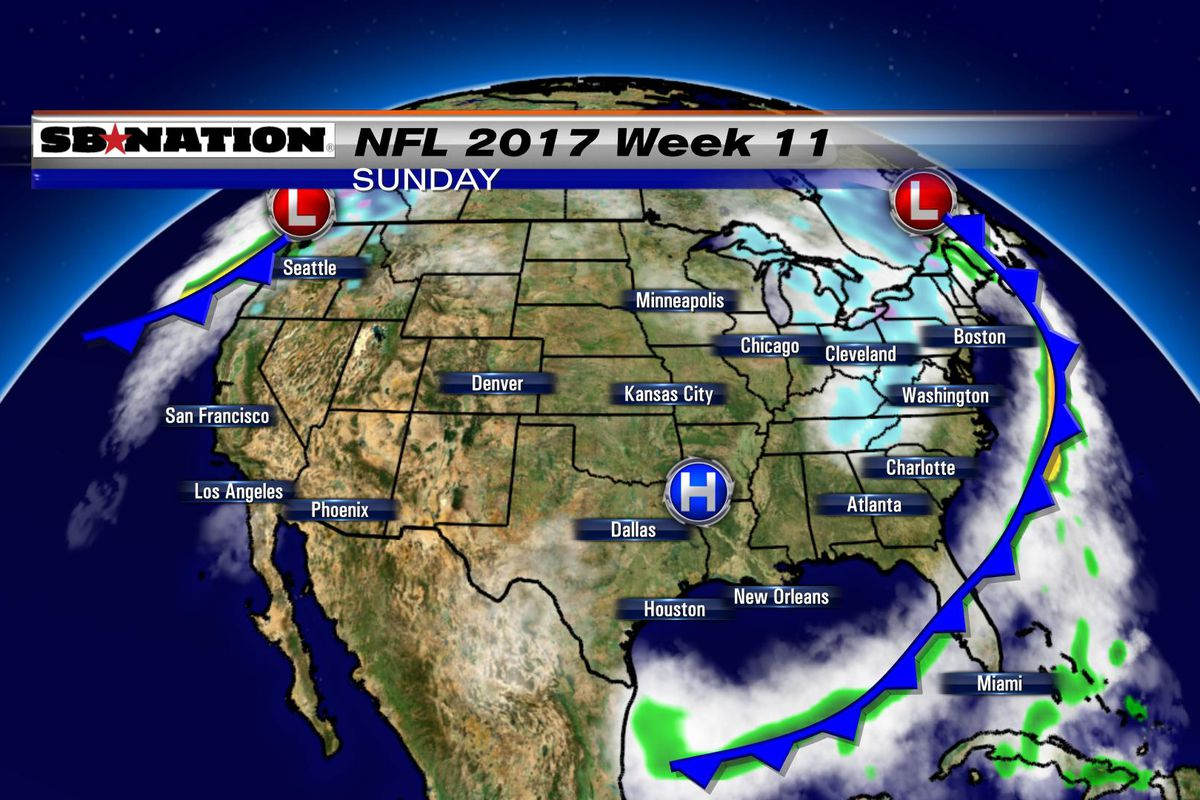 NFL weather forecast 2017, Week 11: Some games will deal with strong