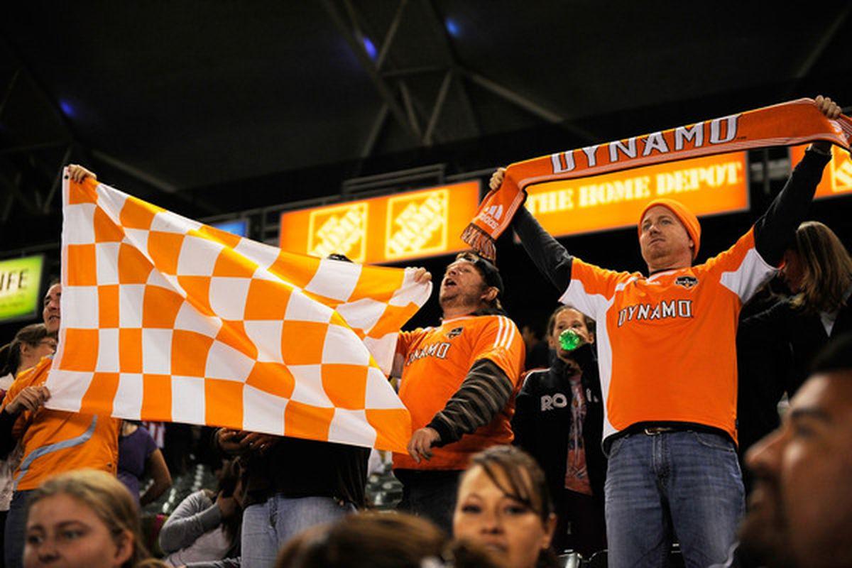 CARSON, CA - MAY 08: Fans of Houston Dynamo cheer for their team during the MLS soccer match against Chivas USA on May 8, 2010 at the Home Depot Center in Carson, California.  (Photo by Kevork Djansezian/Getty Images)