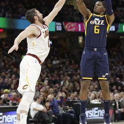 Utah Jazz's Joe Johnson (6) shoots over Cleveland Cavaliers' Kevin Love (0) in the first half of an NBA basketball game, Saturday, Dec. 16, 2017, in Cleveland. (AP Photo/Tony Dejak)