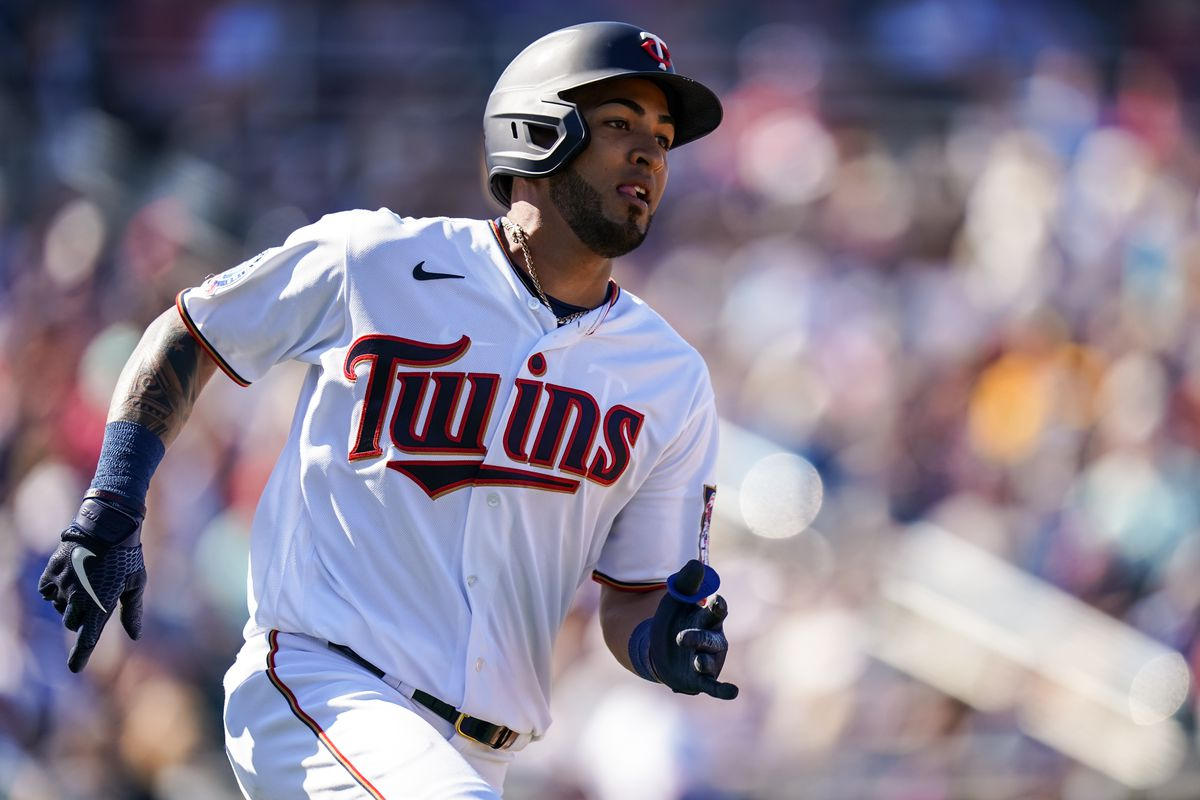 Eddie Rosario #20 of the Minnesota Twins runs during a spring training game against the Boston Red Sox on February 28, 2020 at the Hammond Stadium in Fort Myers, Florida.