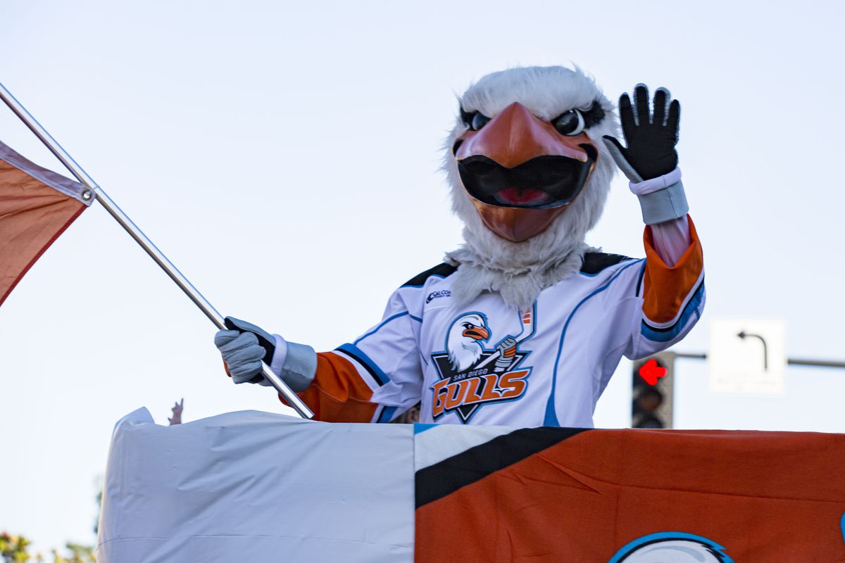 Gulliver, the mascot of the San Diego Gulls hockey team attends 73rd Annual Mother Goose Parade on November 24, 2019 in El Cajon, California.