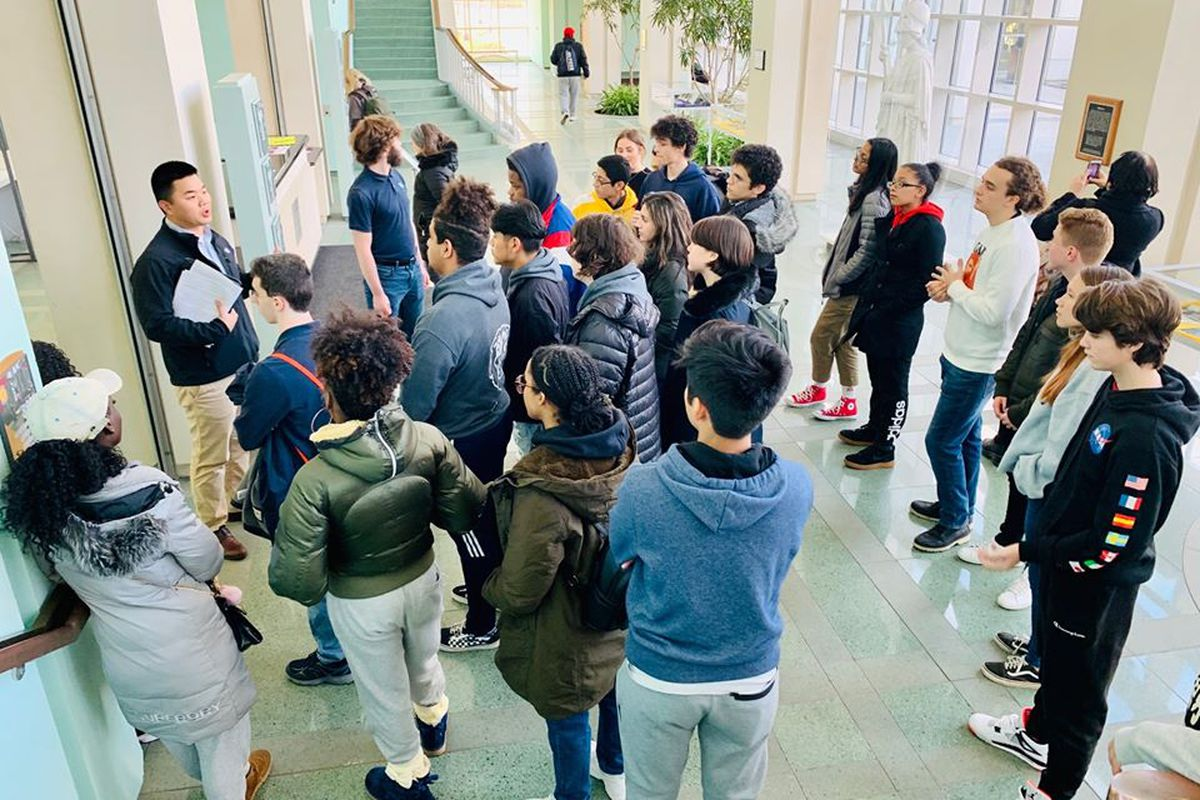 Columbia Secondary School students go on a college tour. Parents in Harlem want the school to overhaul its admissions standards to be more inclusive of the surrounding community.
