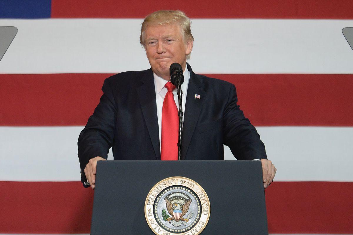 President Trump at a podium in Springfield, Missouri