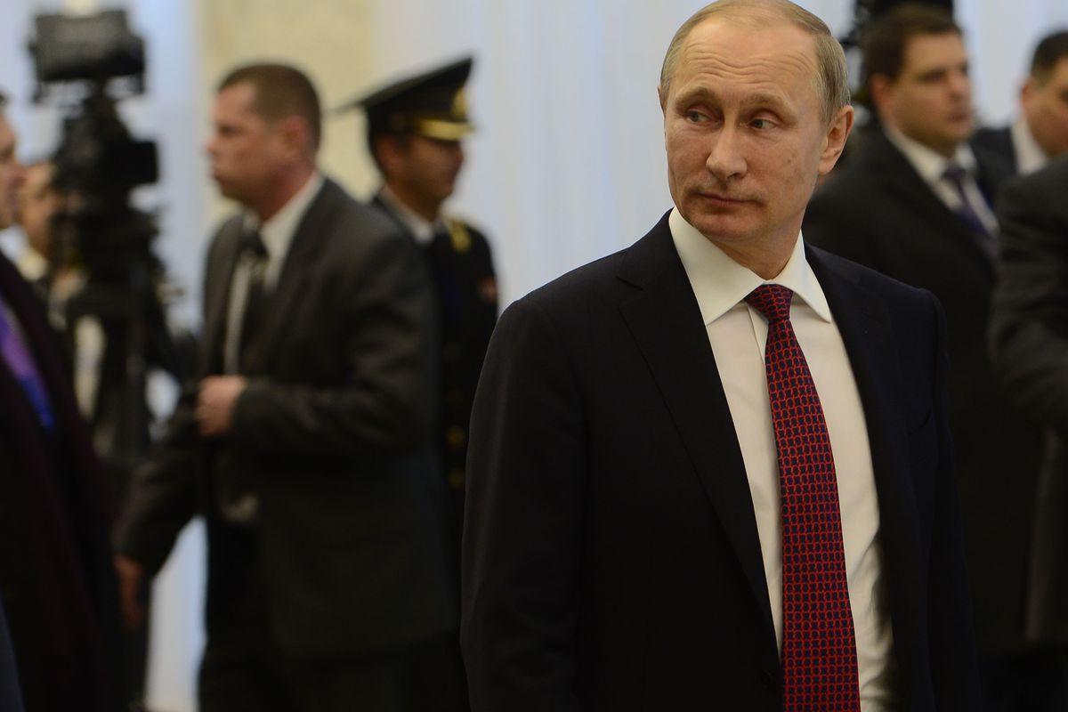 Vladimir Putin at the Minsk peace talks with Ukraine