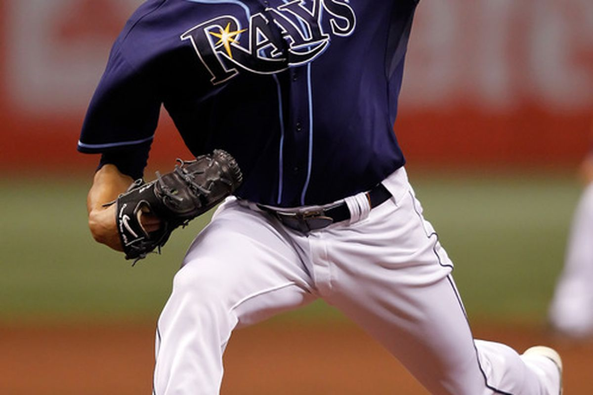 ST PETERSBURG, FL - OCTOBER 12:  :  Pitcher David Price #14 of the Tampa Bay Rays pitches against the Texas Rangers during Game 5 of the ALDS at Tropicana Field on October 12, 2010 in St. Petersburg, Florida.  (Photo by J. Meric/Getty Images)