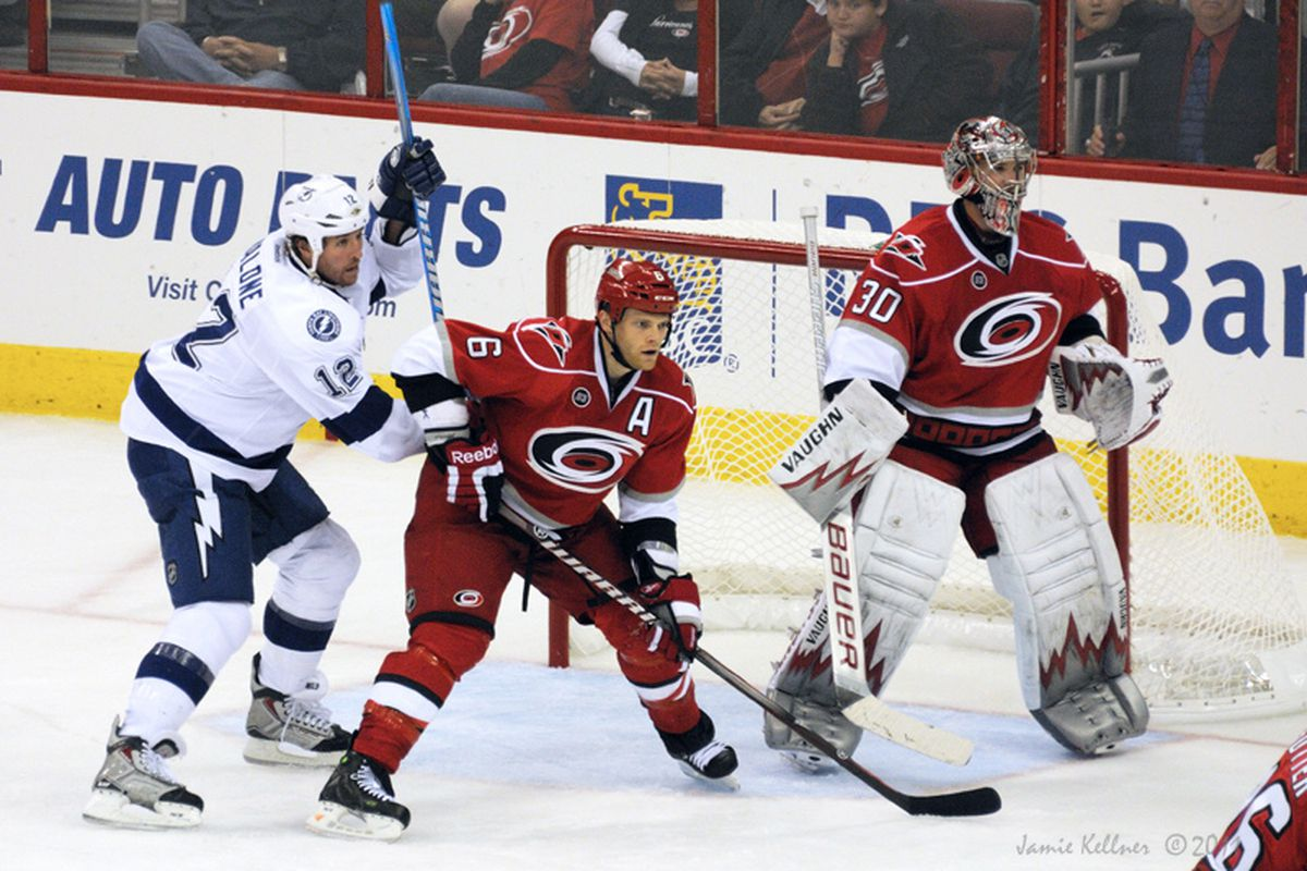 """This time Tim Gleason and Bryan Allen will be paired and ready to shut down the Lightning's offensive firepower. Photo via <a href=""""http://farm7.static.flickr.com/6215/6229187684_c16e7cdebc_b.jpg"""">Jamie Kellner</a>"""