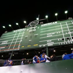 The totals on the center-field scoreboard