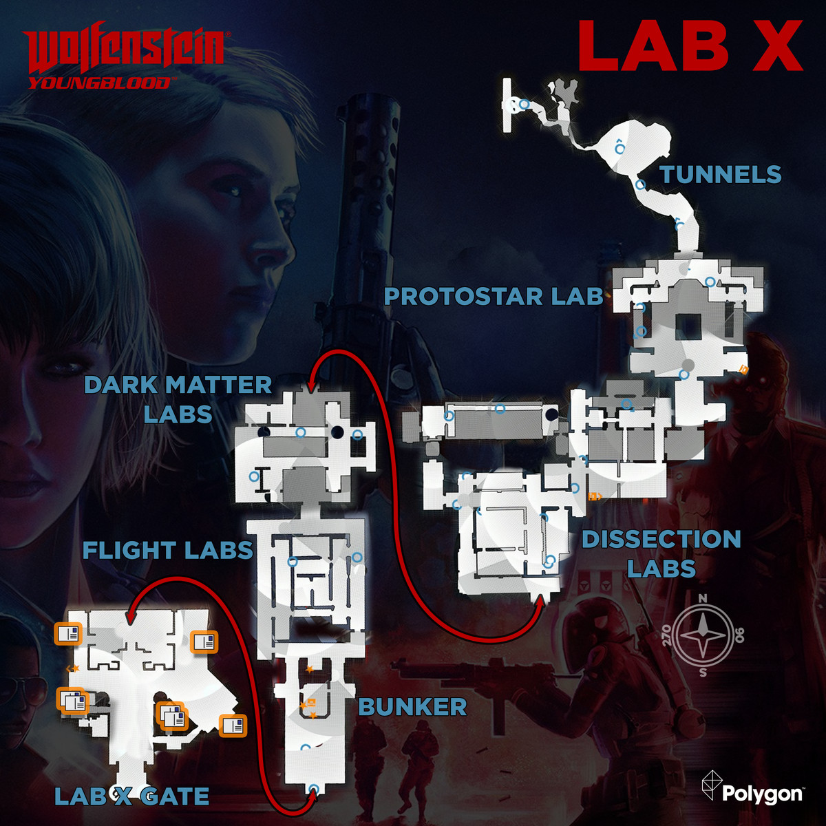 Wolfenstein: Youngblood Lab X map with Readable collectible locations