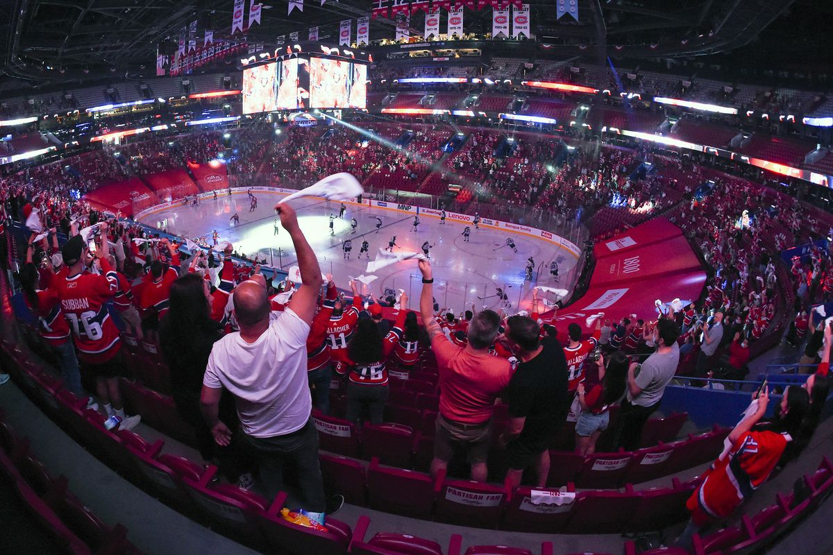 General view of the Bell Center in Game Four of the Second Round of the 2021 Stanley Cup Playoffs between the Montreal Canadiens and the Winnipeg Jets on June 7, 2021 in Montreal, Quebec, Canada.