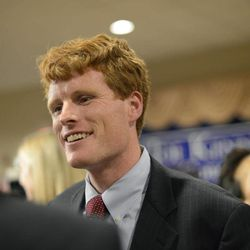 Joseph Kennedy III, son of former U.S. Rep. Joseph P. Kennedy II and grandson of the late Robert F. Kennedy, talks with supporters during a watch party in Taunton, Mass., Thursday, Sept. 6, 2012. The 31-year-old Kennedy is vying for the House seat being vacated by Democratic U.S. Rep. Barney Frank. Kennedy won the Democratic primary for the Massachusetts Fourth Congressional District Thursday.