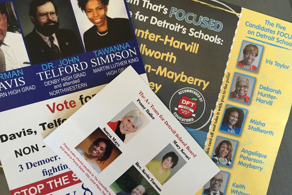 There are 63 candidates angling for seven seats on the new Detroit school board
