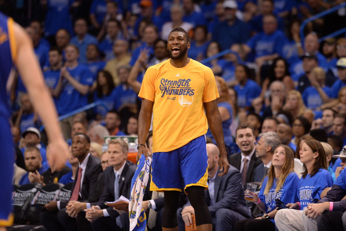 Festus Ezeli cheers on his teammates during the Western Conference Finals.