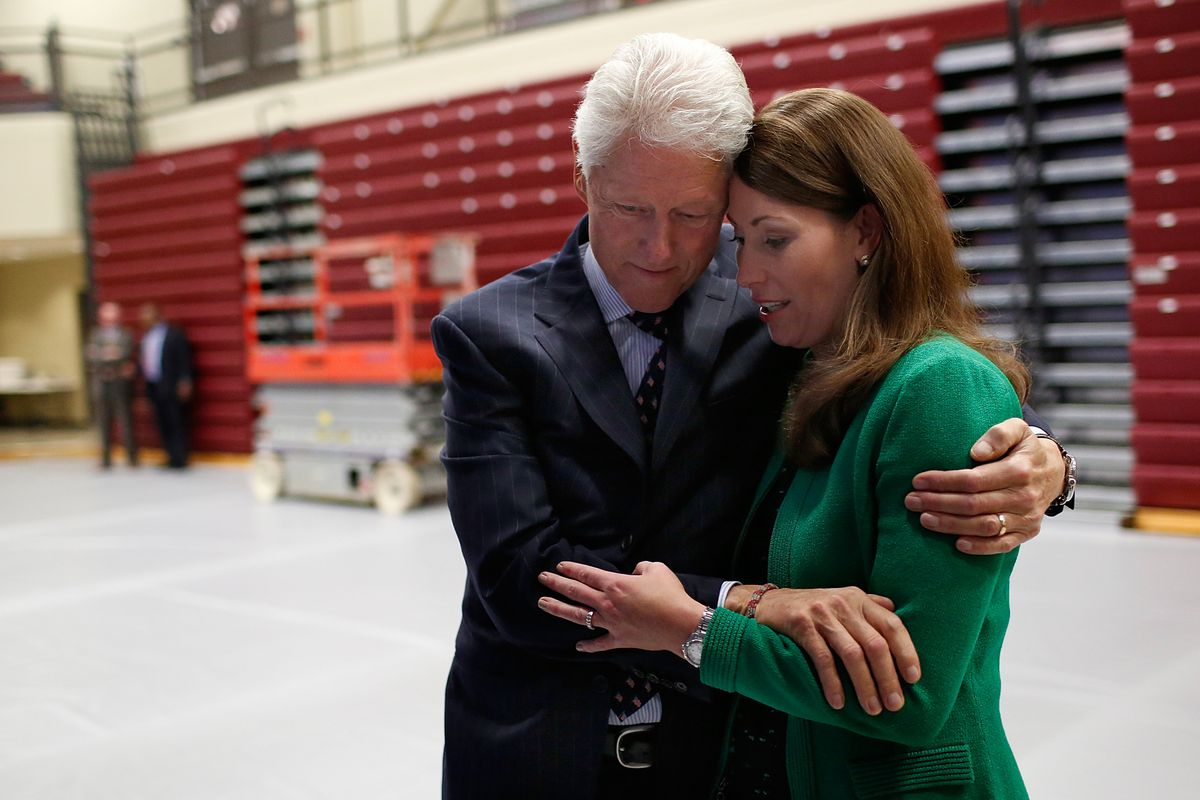 Democratic Kentucky Senate candidate Alison Lundergan Grimes gets a hug from Bill Clinton. Clinton won Kentucky twice, and could plausibly serve as a valuable endorsement —as could those of two big Kentucky newspapers.