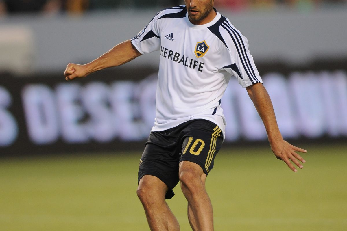 Aug 12, 2012; Carson, CA, USA; Los Angeles Galaxy midfielder Landon Donovan (10) warms up prior to the game against the Chivas USA at the Home Depot Center.  Mandatory Credit: Kelvin Kuo-US PRESSWIRE