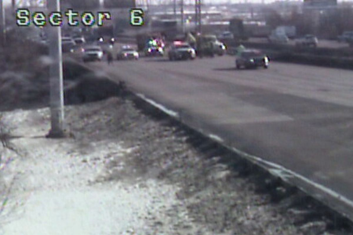 A traffic camera shows all southbound lanes of I-55 closed near Cicero Avenue for a shooting investigation on Feb. 24.