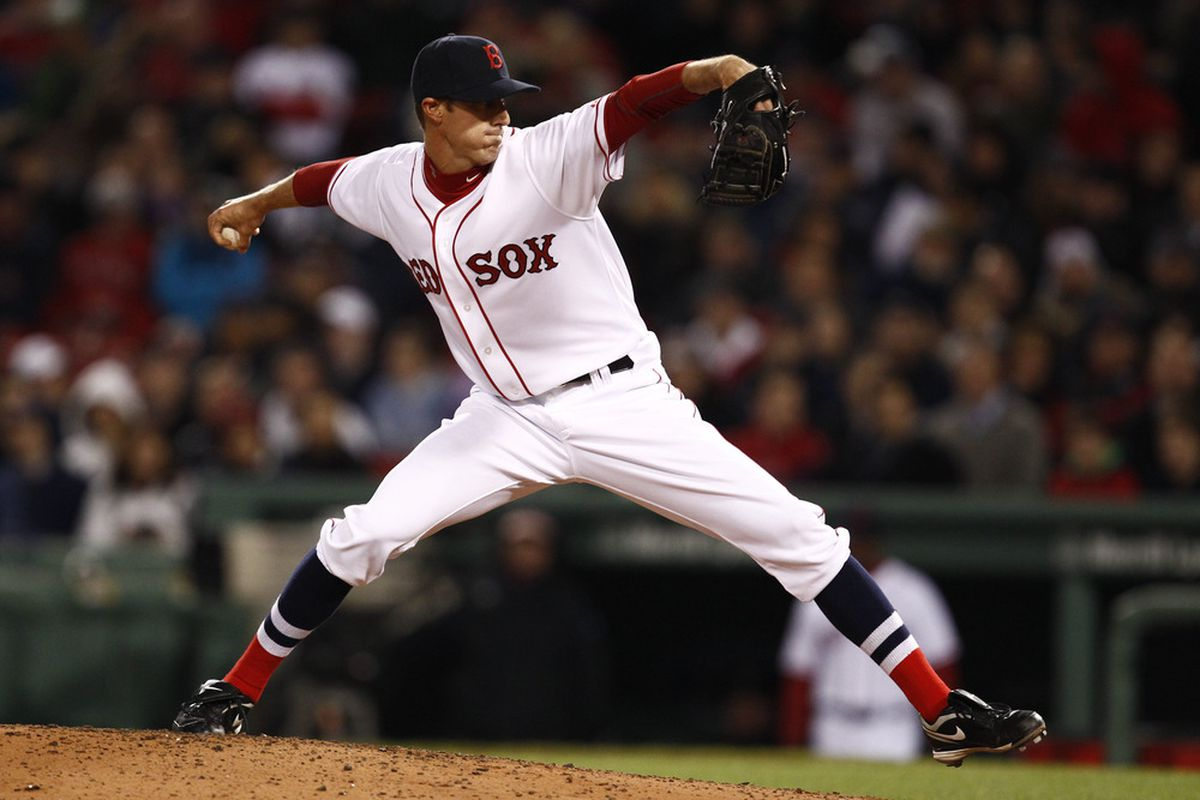 Boston, MA, USA; Boston Red Sox starting pitcher Clayton Mortensen (59) pitches against the Oakland Athletics during the seventh inning at Fenway Park.  Mandatory Credit: Mark L. Baer-US PRESSWIRE