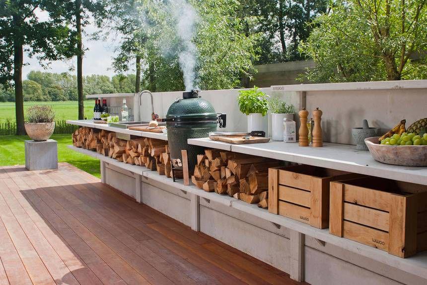 Outdoor kitchen with wood storage