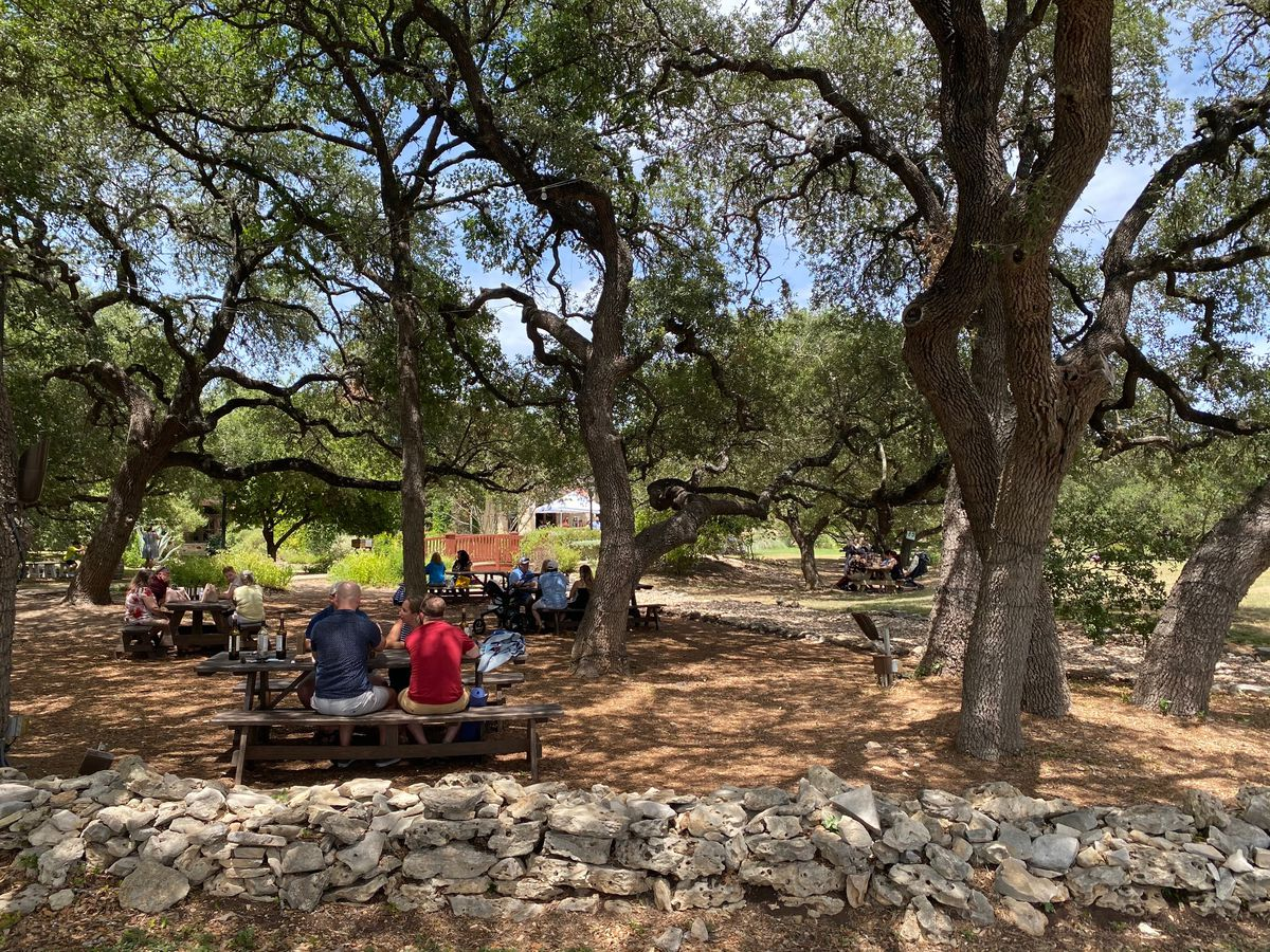An outdoor space where people sit at scattered picnic tables on dirt surrounded by a low stone fence and big trees.