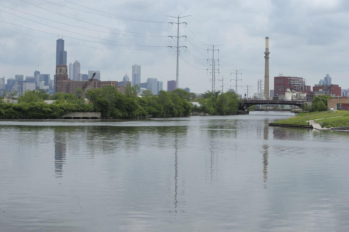 The South Branch of the Chicago River; Bubbly Creek, the south fork of this branch, flows south from this point, on the right.   File photo