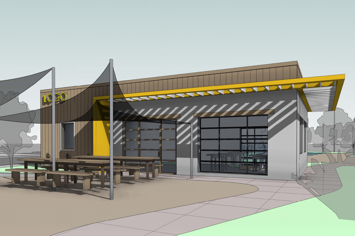 A rendering of a stout, modern-looking building with glass garage doors and a slatted yellow awning. In front of the restaurant are black sun shades above seating.