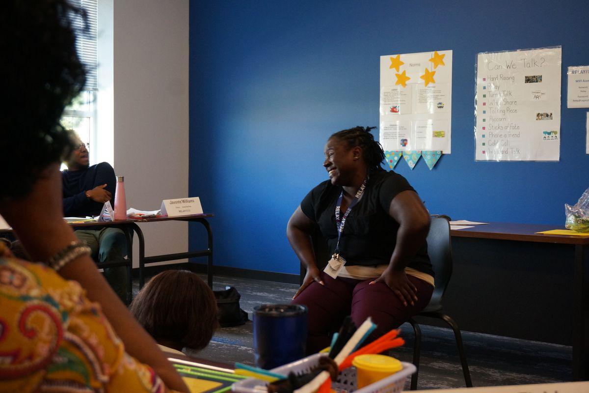 Martha Ellis demonstrating a lesson for other students in Relay's teacher residency program.