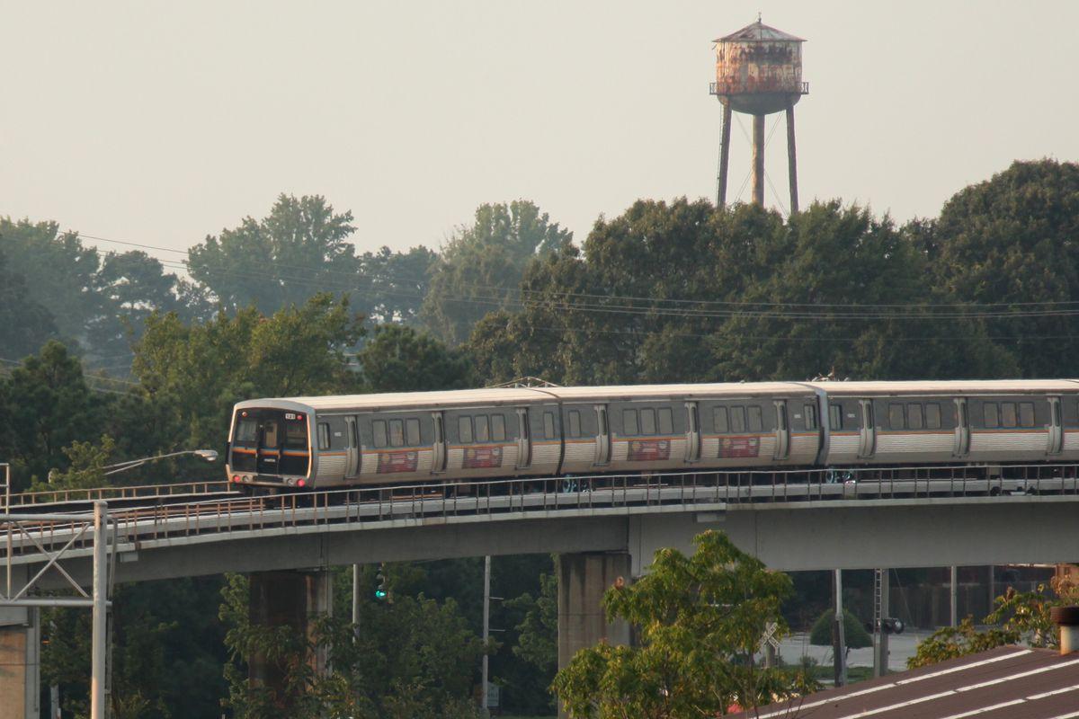 A MARTA train traverses elevated tracks somewhere in Atlanta.