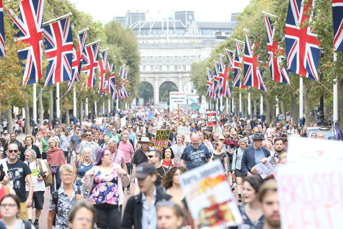 A massive crowd holding signs and EU flags marches under British flags hanging from flagpoles in central London.