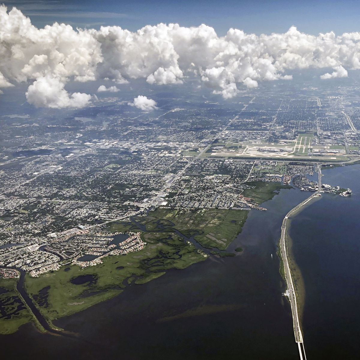 An aerial view of a portion of the Tampa Bay area.
