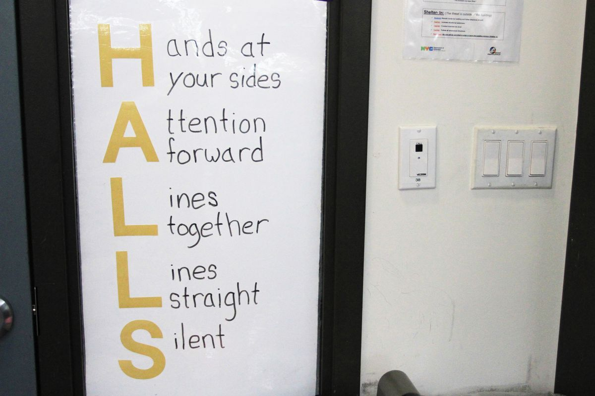 A sign hangs in a fourth grade class at Brownsville Ascend Lower Charter School in Brooklyn.