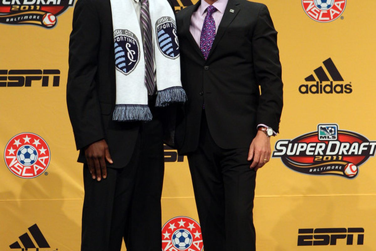 Sporting KC forward CJ Sapong with MLS Commissioner Don Garber at the 2011 MLS SuperDraft. Will Peter Vermes strike gold once again in 2012?(Photo by Ned Dishman/Getty Images)