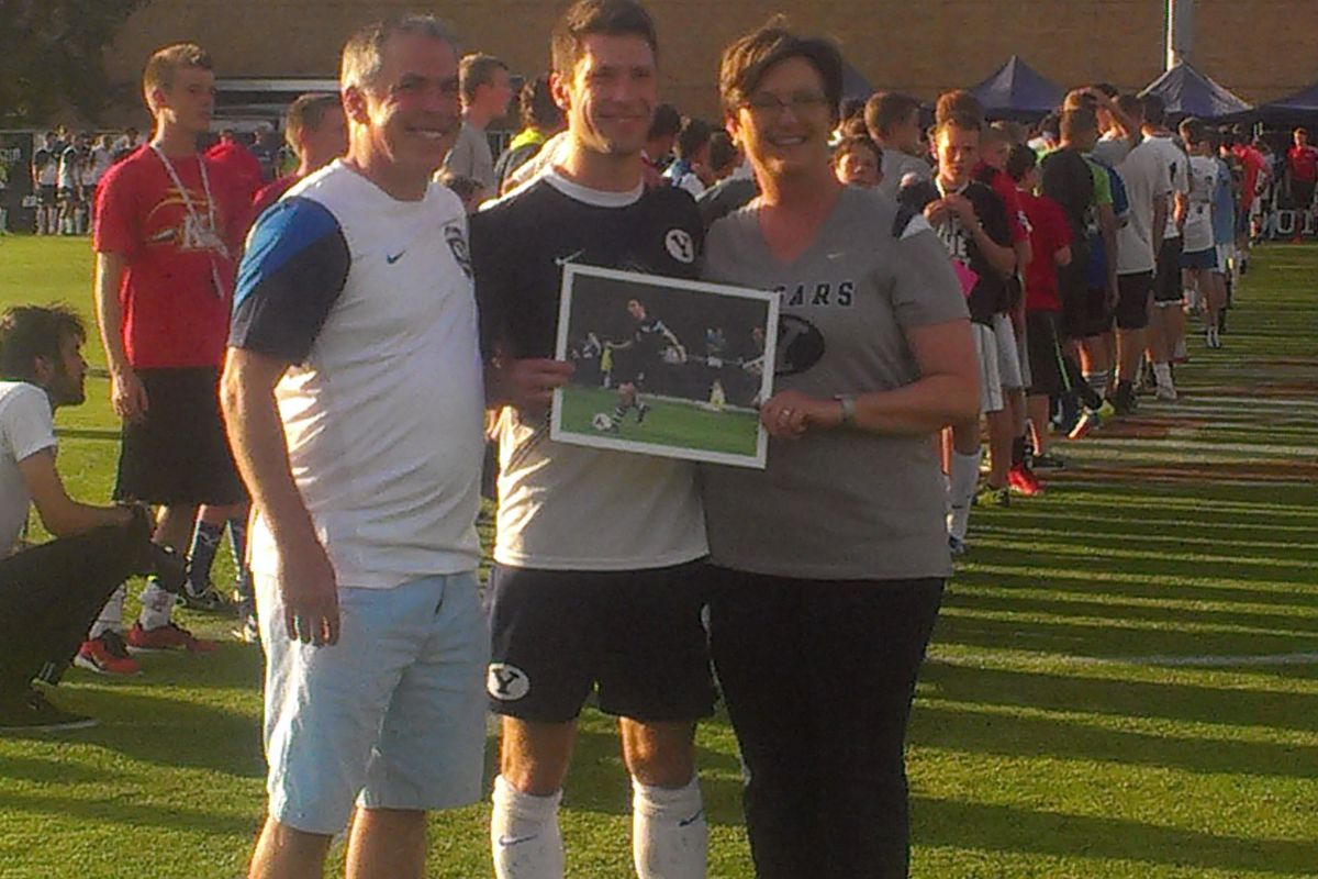 Colby Bauer at Senior Night with his family.