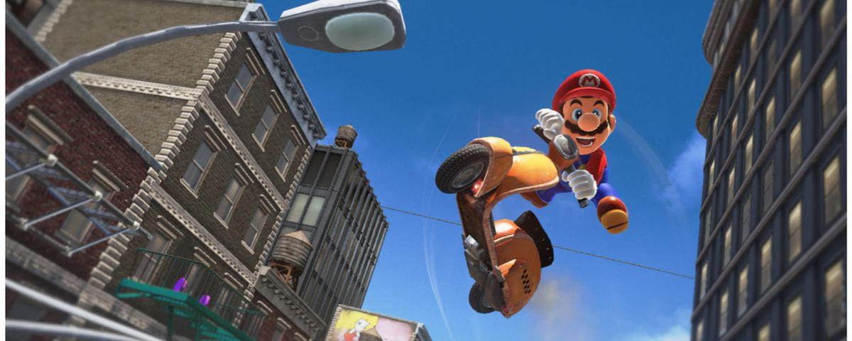 Mario rides a scooter in New Donk City from Super Mario Odyssey