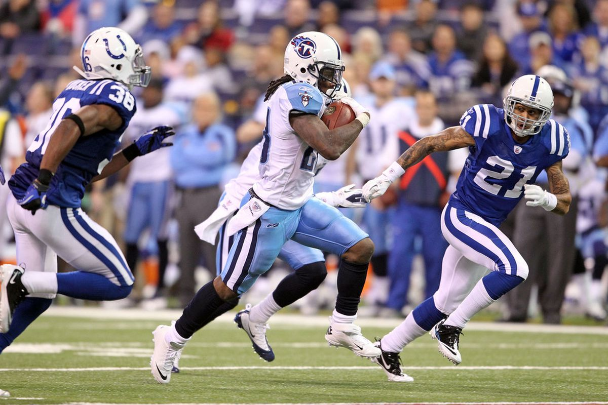INDIANAPOLIS, IN - DECEMBER 18:  Chris Johnson #28 of the Tennessee Titans runs with the ball during the NFL game against the Indianapolis Colts at Lucas Oil Stadium on December 18, 2011 in Indianapolis, Indiana.  (Photo by Andy Lyons/Getty Images)