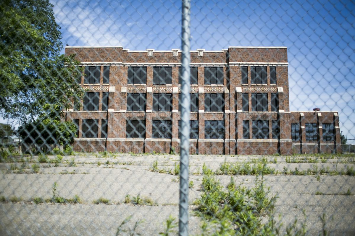 An exterior view of Southeastern High School in Detroit, MI. Photo by Anthony Lanzilote/Chalkbeat; Taken June, 2019