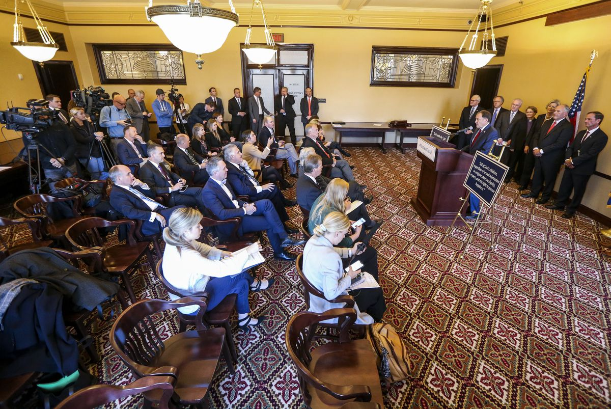Utah Gov. Gary Herbert speaks during a press conference to introduce the Fairness for All Act at the Utah State Capitol in Salt Lake City on Monday, Dec. 9, 2019.