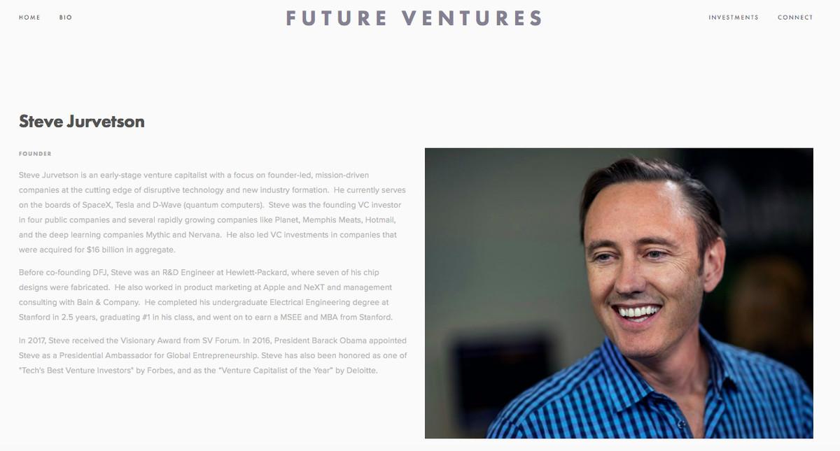 Future Ventures website Steve Jurvetson bio page.