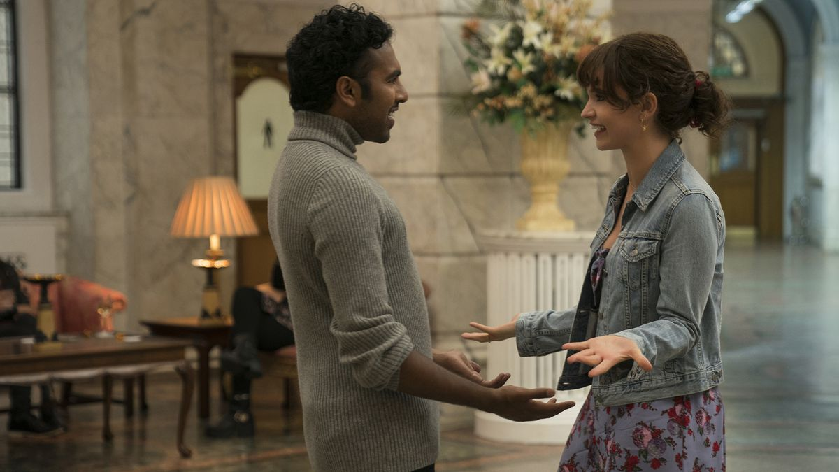 "Jack (Himesh Patel) and Ellie (Lily James) are lifelong best friends in ""Yesterday."""