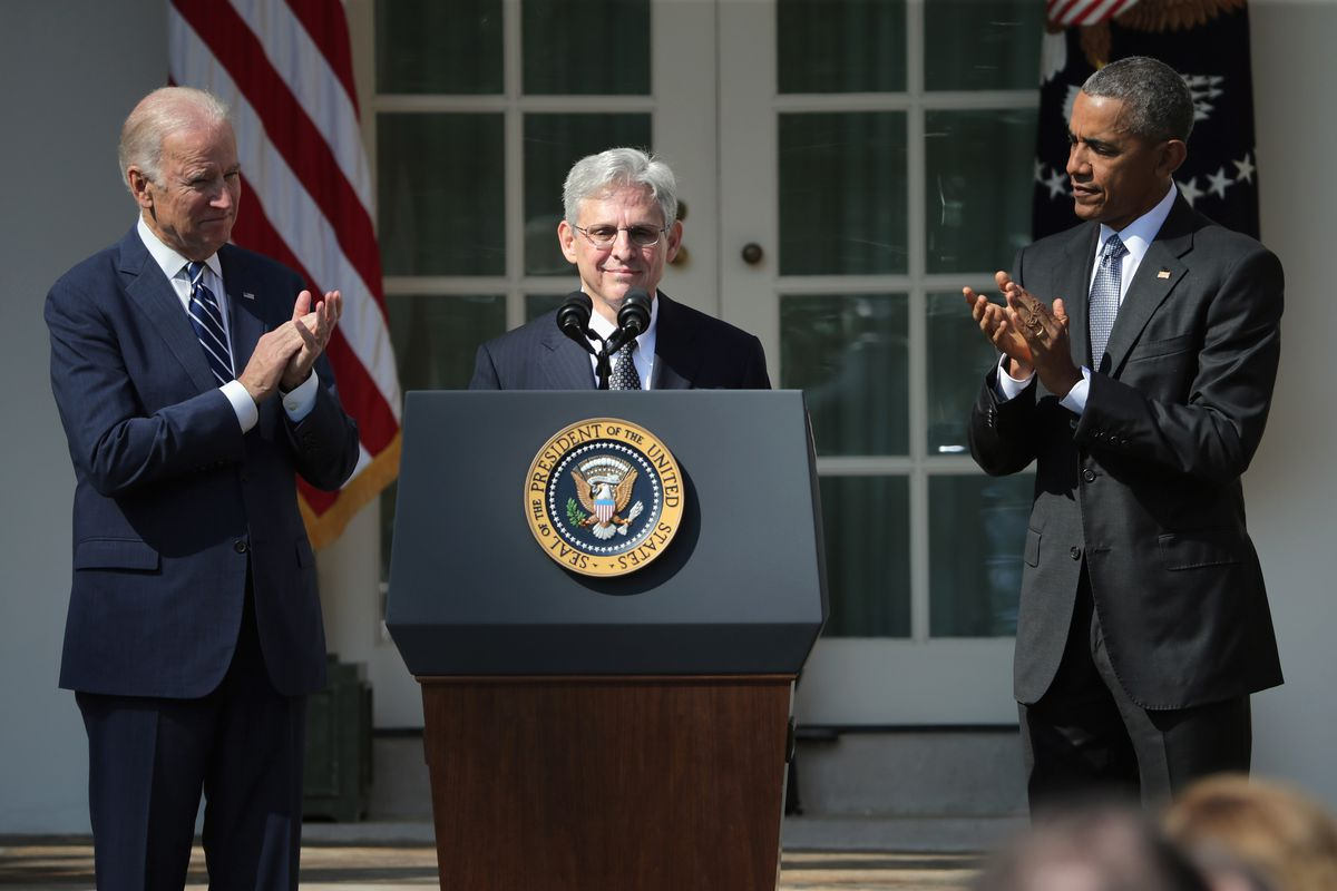 Merrick Garland speaks at the Rose Garden ceremony at which President Barack Obama nominated him to the Supreme Court.