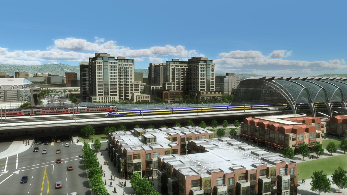 Rendering of the California High-Speed Rail project in San Jose.