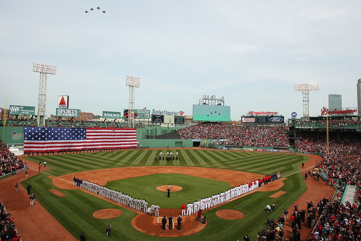 BOSTON, MA - APRIL 8:   Pre-game activities before a game between the Boston Red Sox and the New York Yankees on Opening Day at Fenway Park on April 8, 2011 in Boston, Massachusetts. (Photo by Gail Oskin/Getty Images)