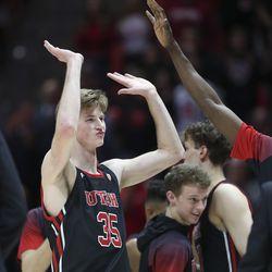 Utah Utes center Branden Carlson (35) celebrates the win over Stanford Cardinal in Salt Lake City, Thursday, Feb. 6, 2020. Utah won 64-56 in overtime.