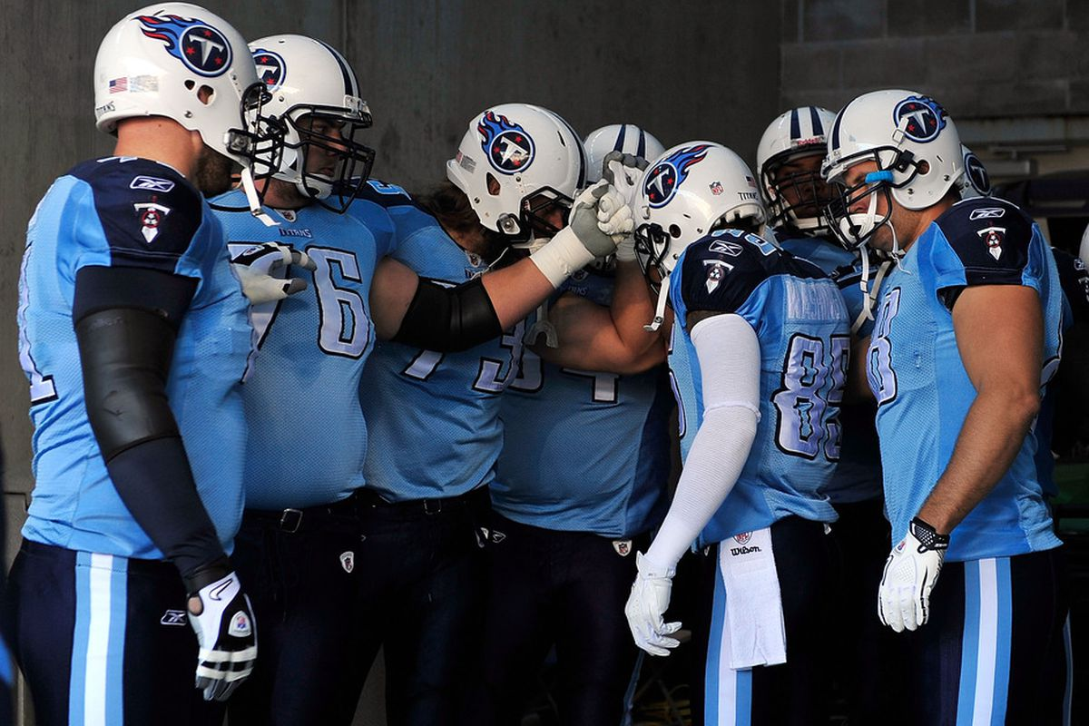 NASHVILLE, TN - NOVEMBER 06:  Tennessee Titans players huddle for a brief player before a game against the Cincinnati Bengals at LP Field on November 6, 2011 in Nashville, Tennessee.  (Photo by Grant Halverson/Getty Images)
