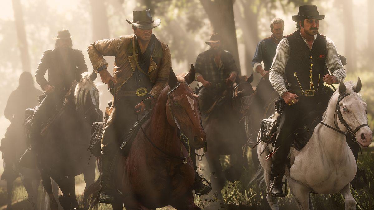 Red Dead Redemption 2 - the Van der Linde Gang (John, Arthur, Bill, Hosea, Dutch) riding through a forest