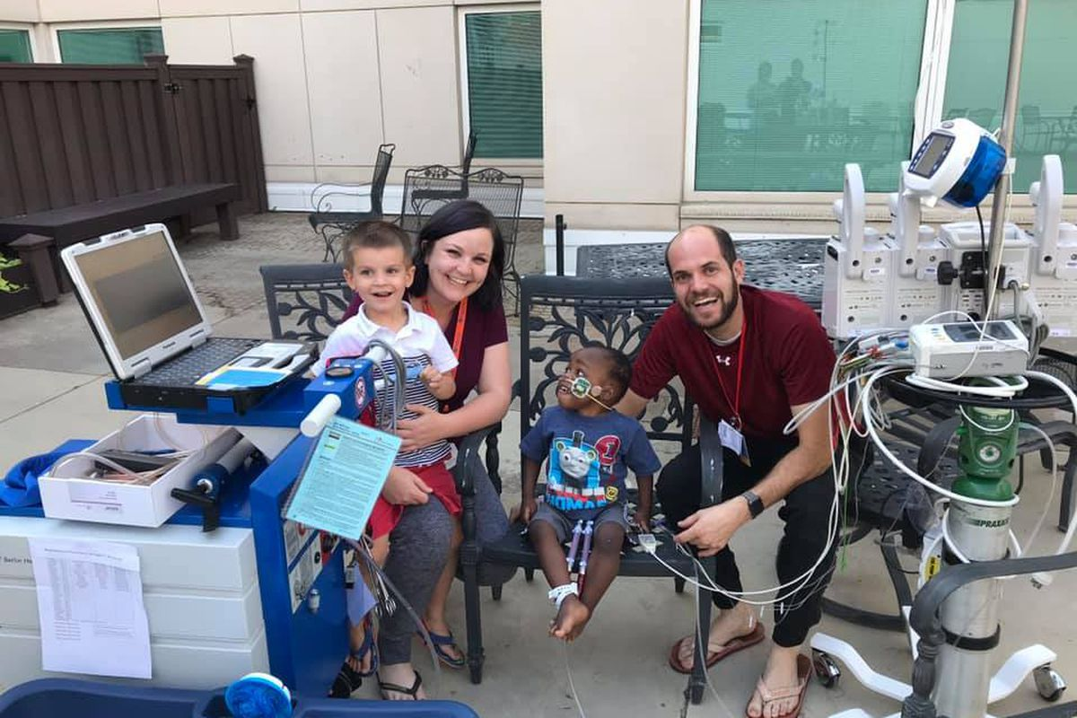 Amanda and Josh Orfanos and their children, Nelson, left, and Gerold. Gerold Orfanos received a heart transplant at Primary Children's Hospital in Salt Lake City.