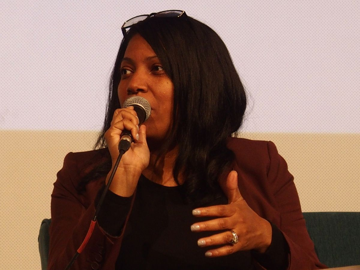 Angela Whitelaw speaks at a panel event in October 2018.