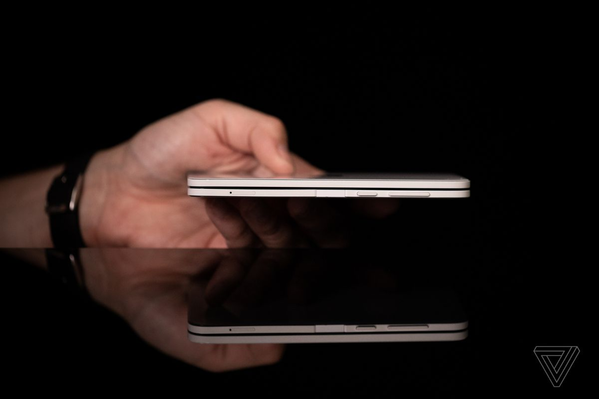 When closed, the Surface Duo is less than 10mm thick