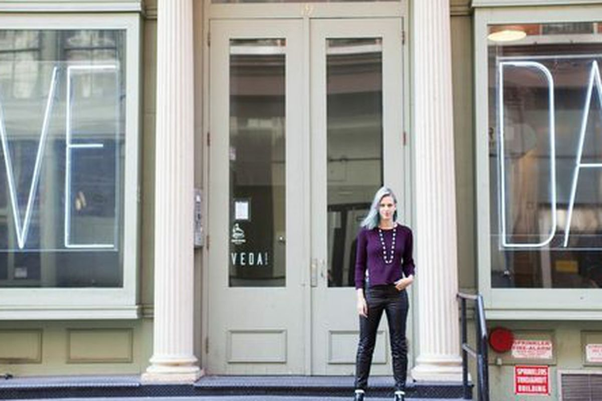 """Owner and designer Lyndsey Butler and her storefront; photo by <a href=""""http://rebeccadalephotography.com"""">Rebecca Dale</a>"""