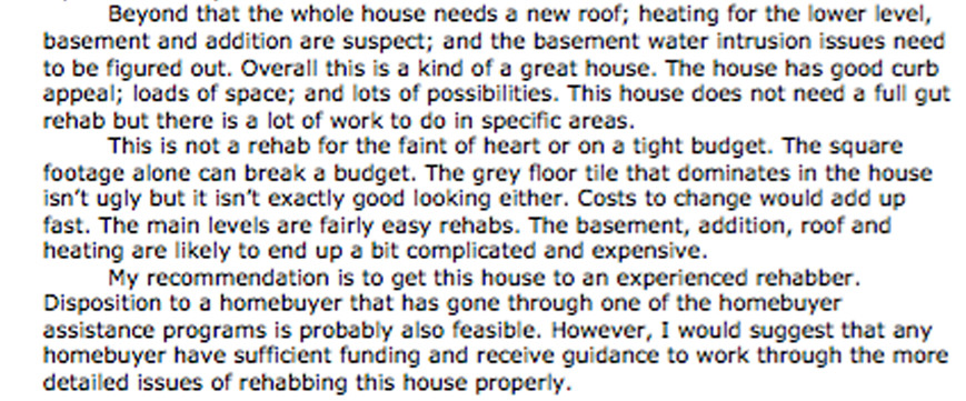 An excerpt from the land bank inspector's report saying that the home required an