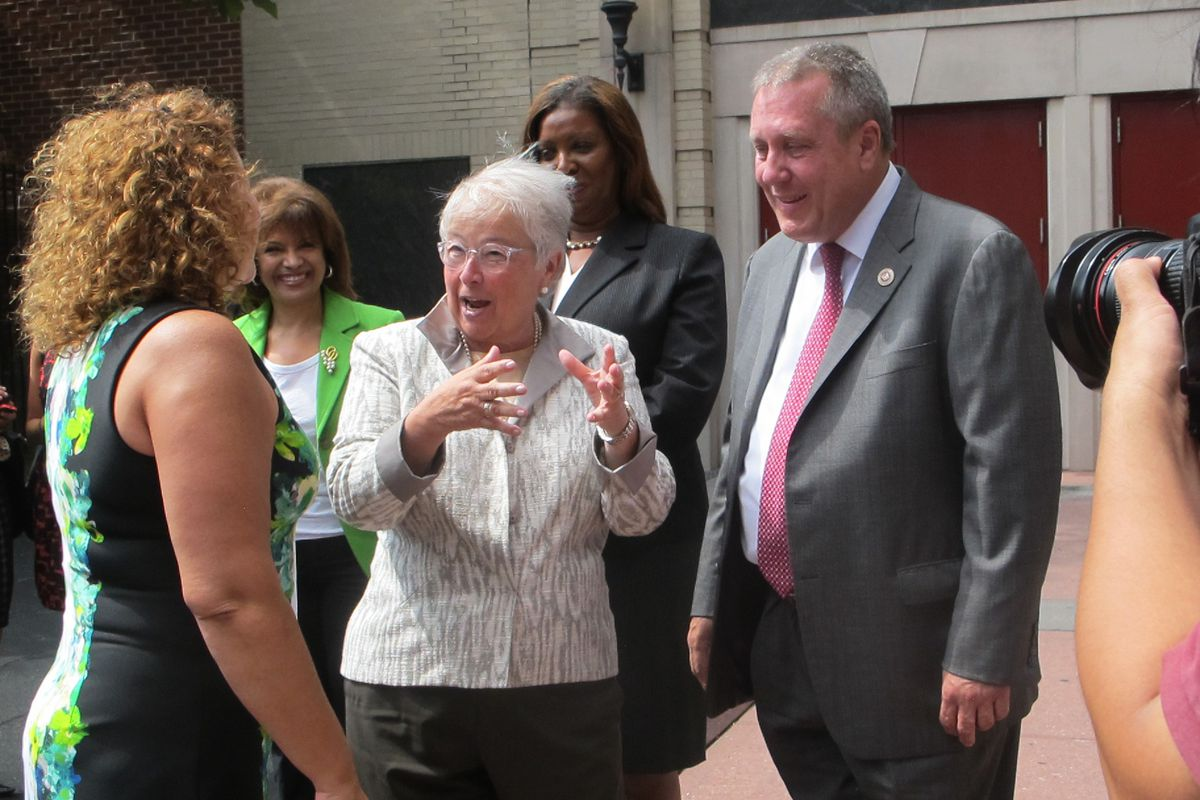 Chancellor Carmen Fariña and City Council education committee chair Daniel Dromm on Wednesday.