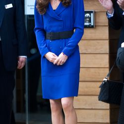 At the opening of The Treehouse Children's Hospice on March 19th, 2012 in a Reiss coatdress.